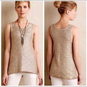 Anthropologie Moth metallic knit top